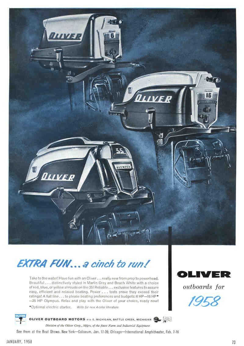 Oliver Outboard Motors 1958 Vintage boats, Outboard boat