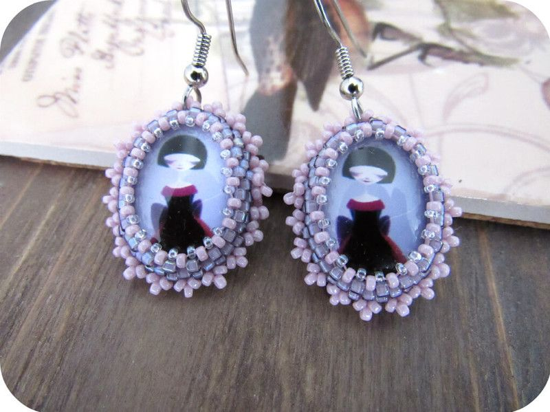 Purple Girl Cabochon Beaded Earrings from Lilybiju by DaWanda.com