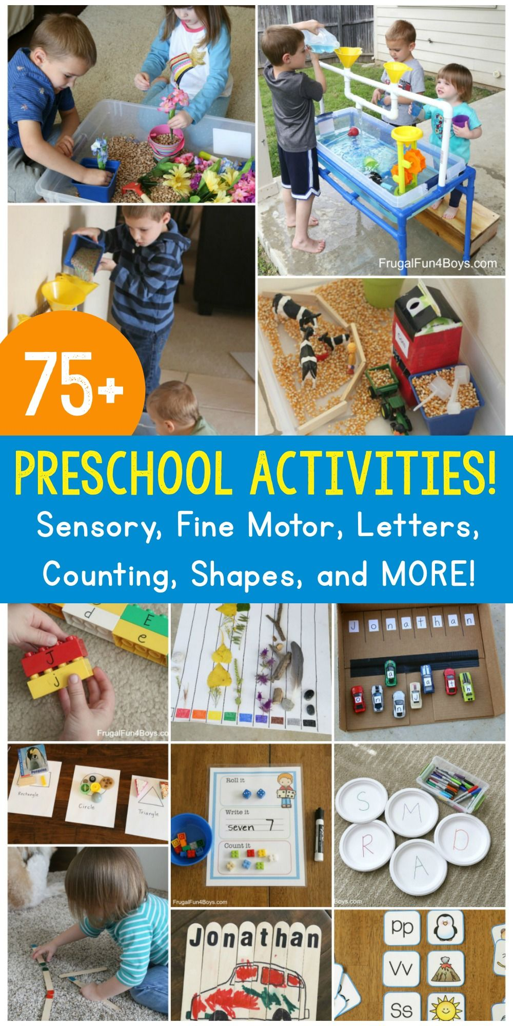 75+ of the BEST Simple Activities for Busy Preschoolers is part of Toddler activities, Food activities for toddlers, Toddler learning activities, Pre kindergarten learning, Teaching preschool, Infant activities - More than 75 preschool activities, all in one place! We've got fine motor activities, sensory play, alphabet activities, counting, shapes, and MORE! I really love preschoolers  There's just something about the curious and sincere nature of kids this age that is just fun and endearing! I love watching preschoolers play and learn  Preschoolers are not   Read More »