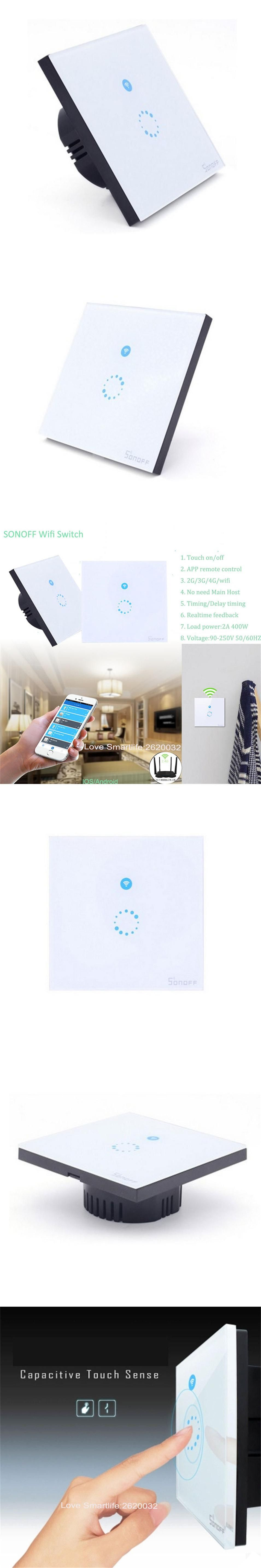 eu type sonoff wifi touch glass panel switch smart home remote