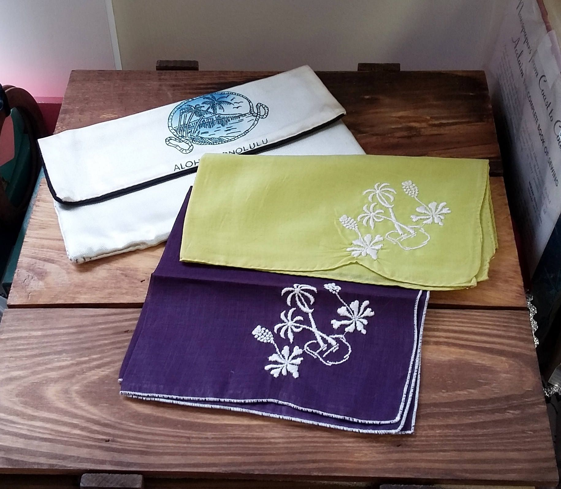 Vintage Hankerchief Set Aloha Honolulu Hawaii Hankies & Satin Enveope Pouch 40's 50's Mid Century Fashion Travel Souvenir Purple, Lime by OffbeatAvenue on Etsy