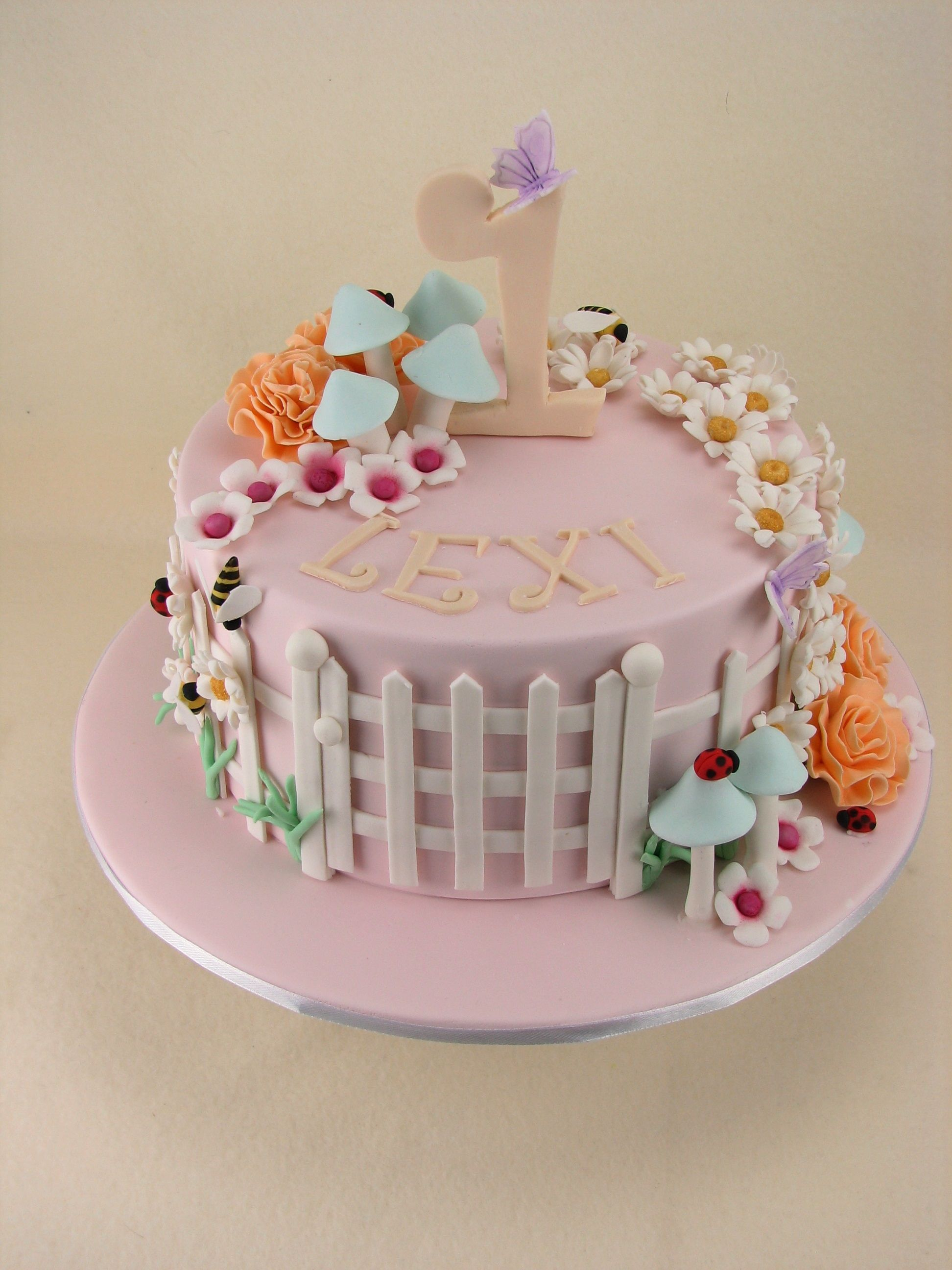 Chocolate mudcake with milk chocolate ganache filling and covered in fondant with a garden of fondant flowers.