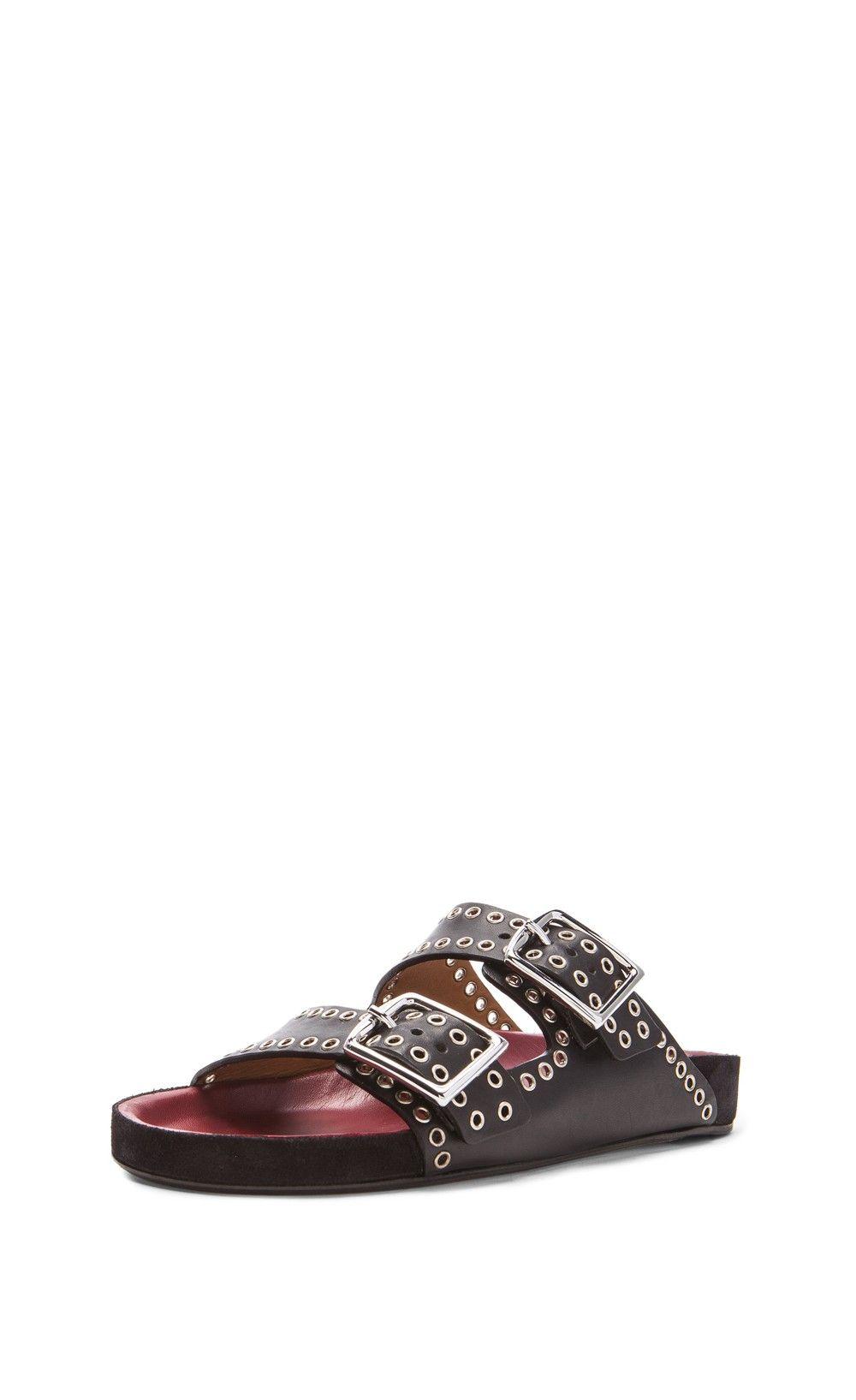 fa142bbeb8ea Isabel marant lenny eyelet calfskin leather sandals black isabel marant jpg  1000x1635 Isabel marant leather sandals