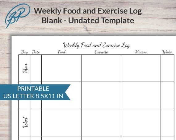 weekly food and exercise log printable template undated us