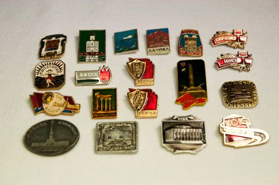 Pins vintage ussr city emblems pin collectibles collector Soviet Set of 19 badge