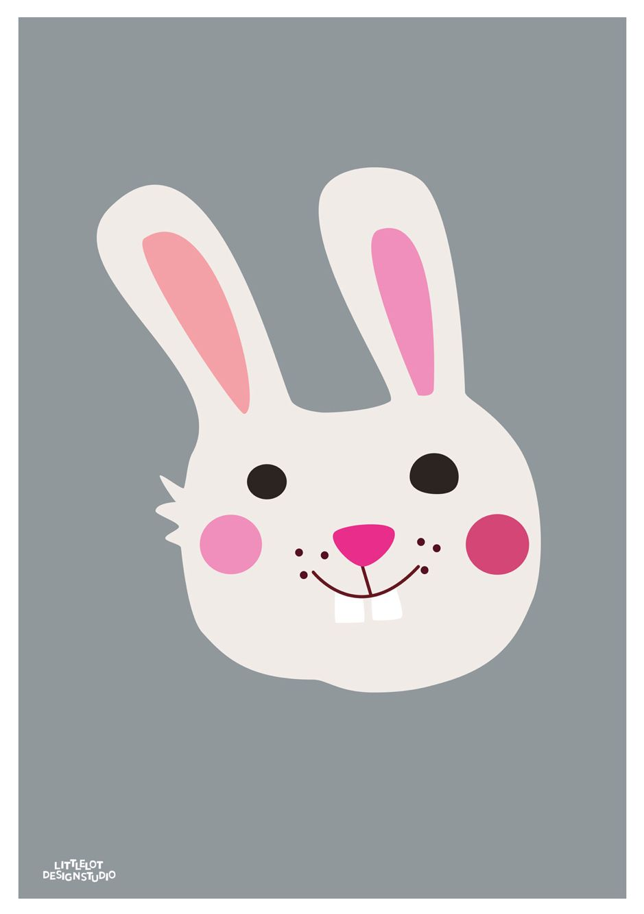 Childrens poster Kanin, Rabbit poster, 50x70 cm. Designed by Charlotte Søeborg Ohlsen, Littlelot Designstudio