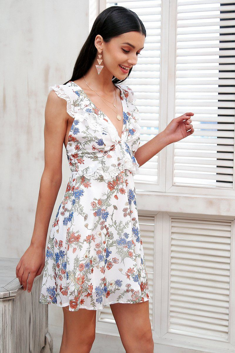 Floral ruffle flowy dress print s products pinterest products