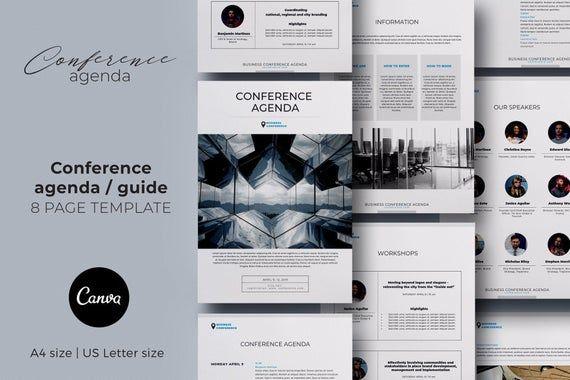 Conference agenda canva template, Business brochure