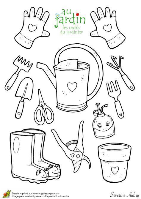 coloriages jardinage les outils du jardinier bullet. Black Bedroom Furniture Sets. Home Design Ideas