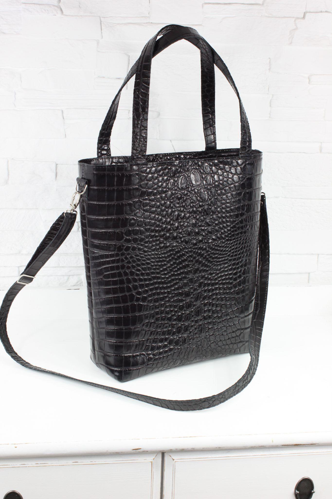d73763518a3bb Torebka skórzana - Shopper Verona czarny krokodyl L d - Torebki Fabiola -  sklep internetowy z torebkami