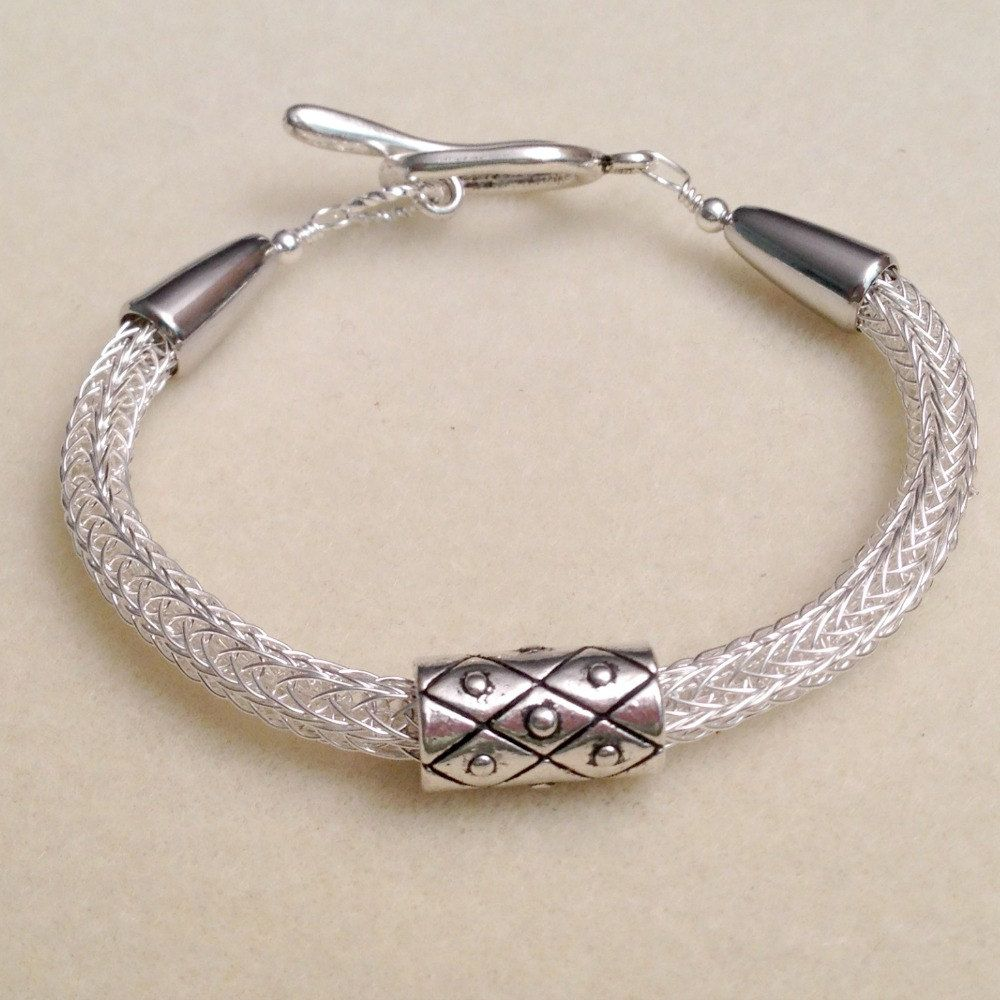 Silver viking knit woven chain bracelet with slider by DonnaDStore ...