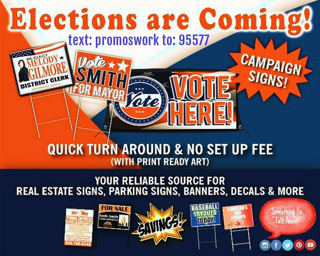 Get Your ELECTION Signs Here!  Signs! Signs! Everywhere there's Signs! (Or soon will be) Candidates need exposure - Something To Talk About can accommodate! American Made Union Shop Custom or Stock Design Fast Turnaround  Price Quotes: Email derrick@somethingtotalkaboutmarketing.com  Browse our website - http://ift.tt/1TqGfPk  #signs #printing #graphicdesign #election #candidate #flyers #brochure #postcards #businesscards
