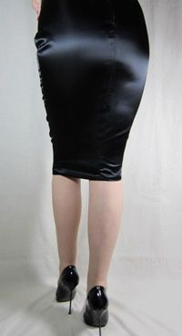 Knee Length Hobble Skirt Black Satin | Skirts I love | Pinterest ...