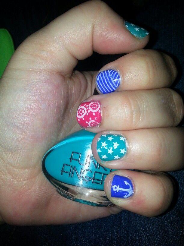 Nautical Nails. #short #nail art #sinful colors endless blue #essie ...