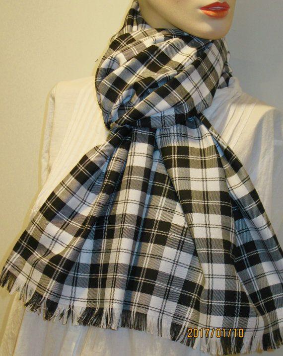 59cc49ead8dc3 Menzies Black Plaid Fringed Wrap~Shawl Oversize Blanket Cozy Fringes Scarf~Black  White Plaid wrap ~Handmade Gift Scarf Wrap @sohoskirts