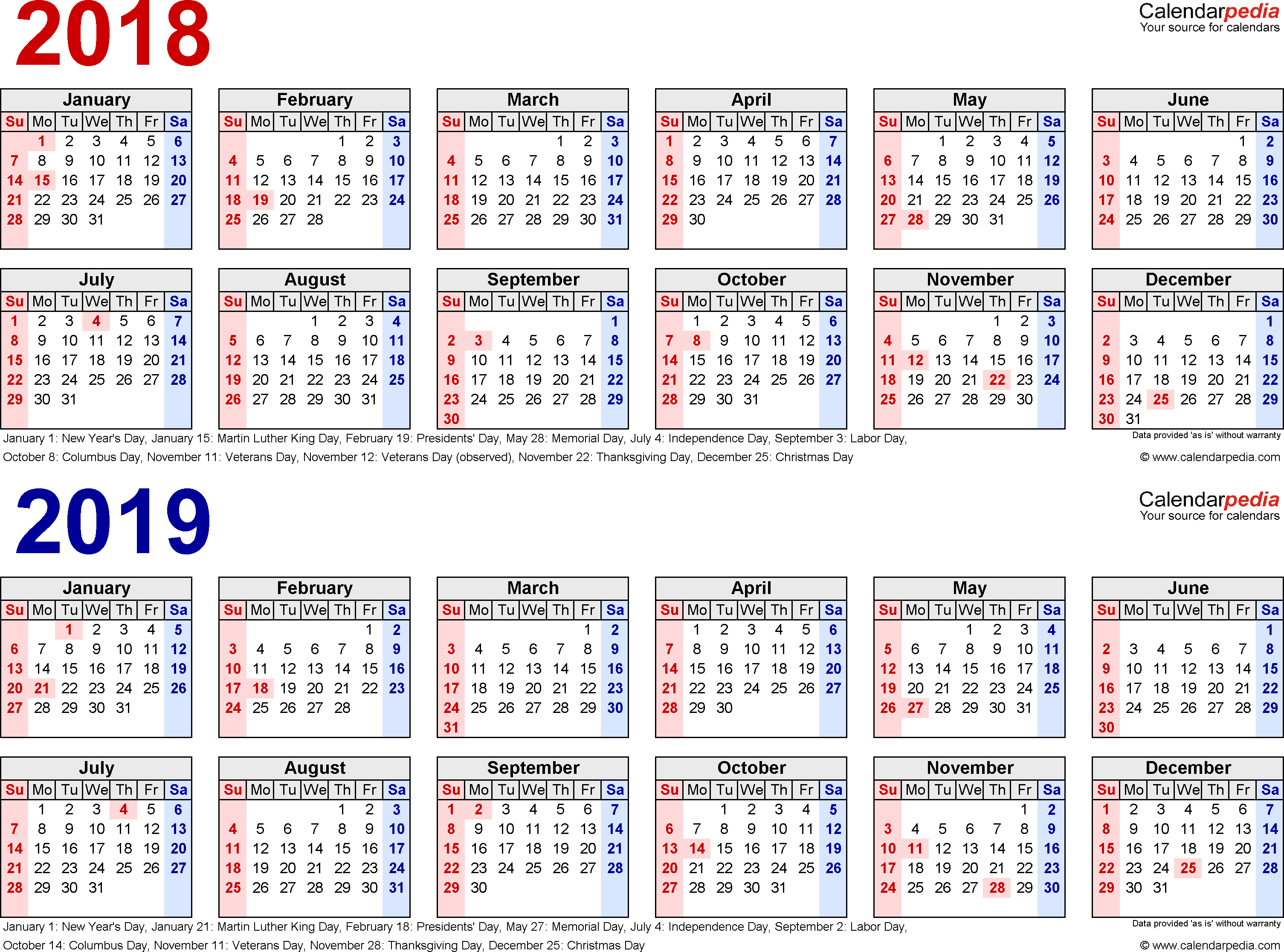 2018 2019 calendar free printable two year pdf calendars