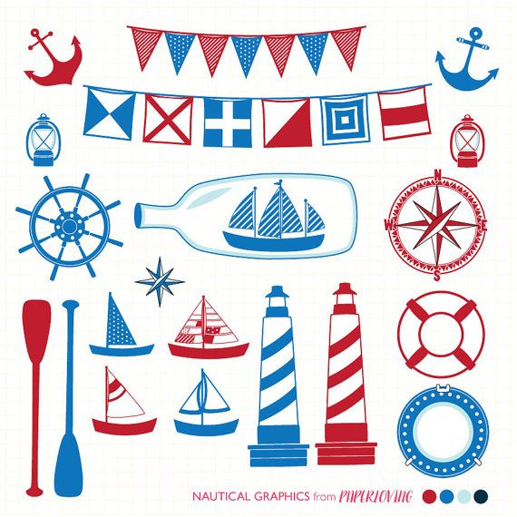 Nautical Clipart Red & Blue; COMMERCIAL use or personal ...