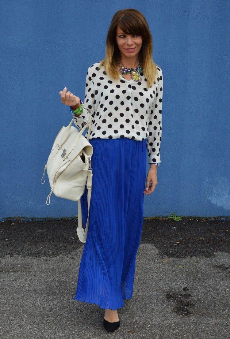 royal blue and polka dots