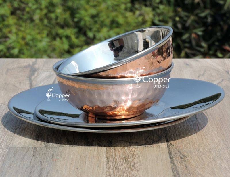 Copper and stainless steel finger bowl set copper