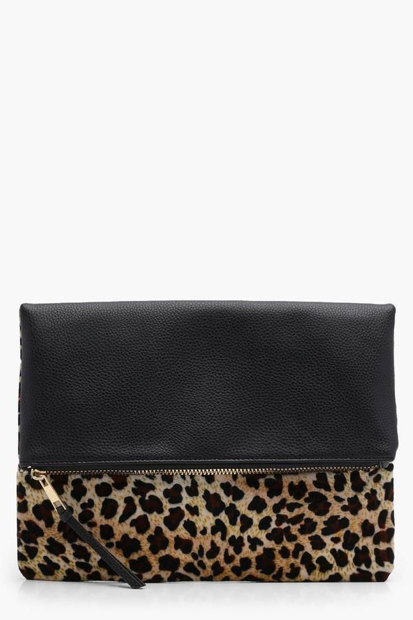 d97c01a83093 Amy Leopard Contrast Fold Over Clutch   Products   Cheetah print ...