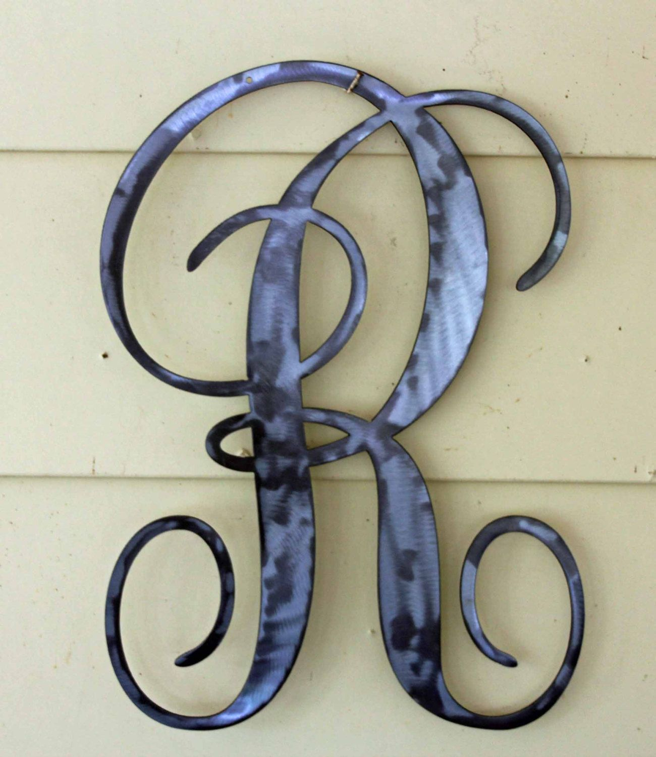 "Metal Initials Wall Hanging Classy Polished Metal Letter ""r"" In Script Door Or Wall Hanging. Design Decoration"