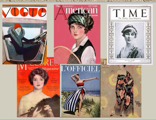 Different 1920s magazine covers which had limited text and almost computerised images were used for modelling