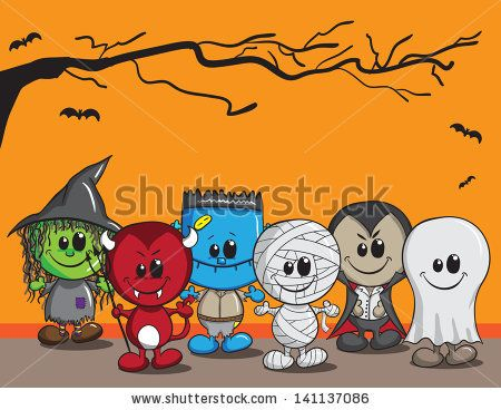 Cute halloween card - Witch, Devil, Monster, Mummy, Dracula and ...