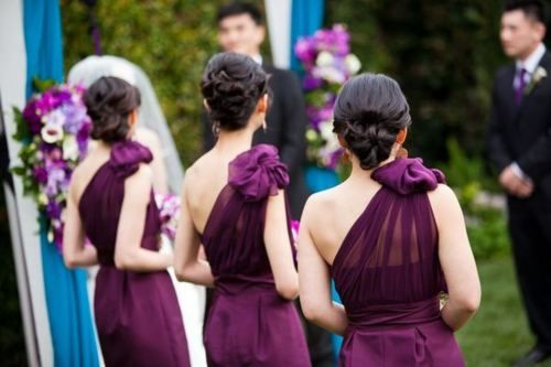 one shoulder dress hair bridesmaids