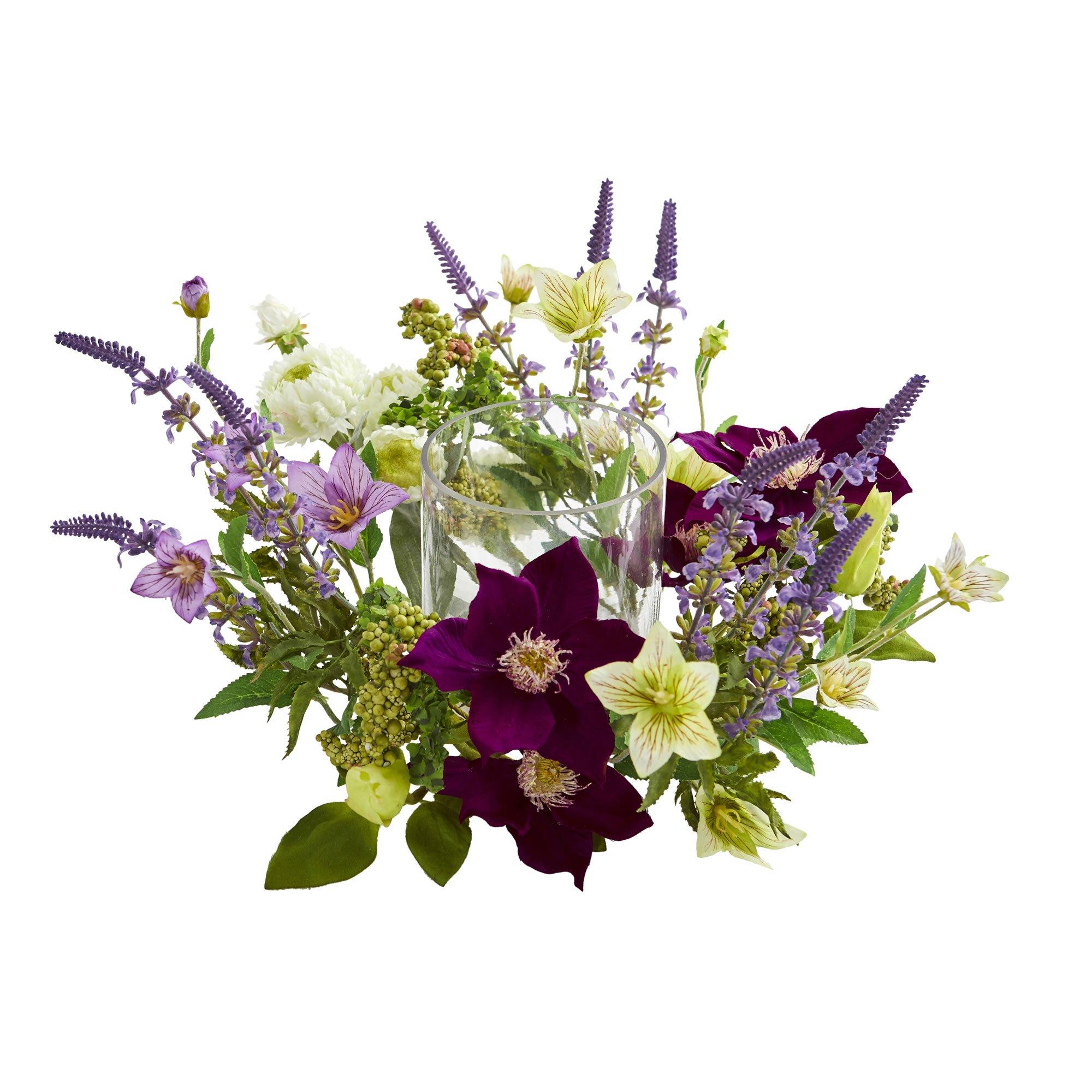 Silk Flowers Mixed Floral Arrangement Candelabrum Artificial