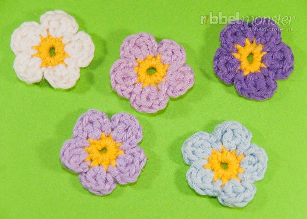 Blumen häkeln – kleine 5-blättrige Blüte | Dolle Wolle | Pinterest ...