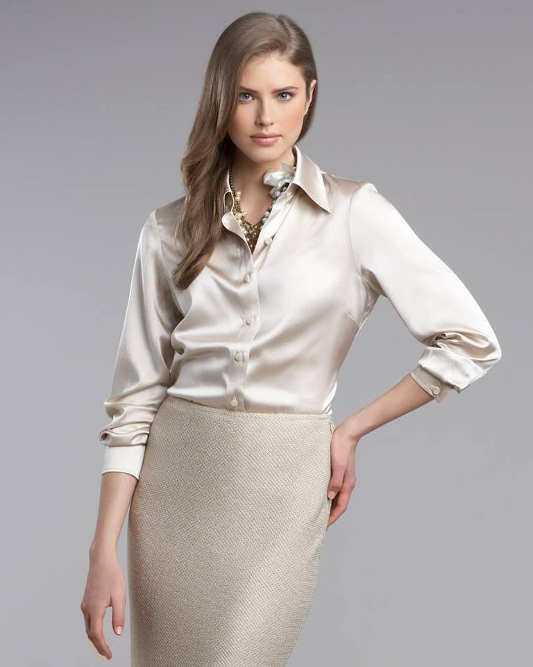 Satin blouse with pencil skirt | Satin Special-S | Satin ...