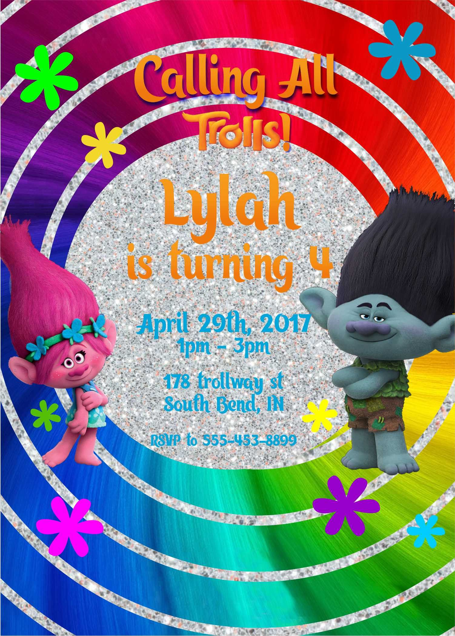 image relating to Trolls Printable Invitations titled Trolls Poppy Birthday Invites, trolls invites