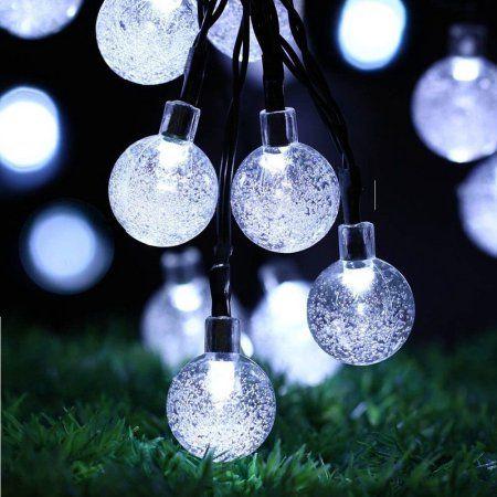 qedertek led solar fairy string lights 30 led lights crystal globe walmart outdoor christmas decorations - Solar Christmas Decorations Walmart