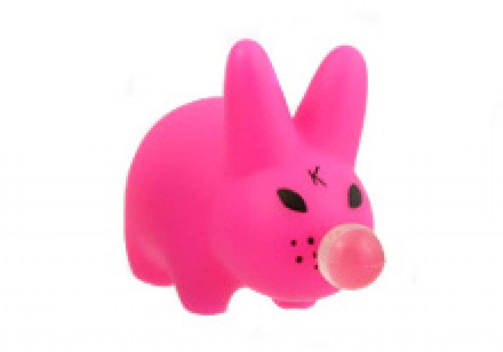 "Kidrobot Kozik Happy Mini Labbit 1.5/"" Pink Bubble Gum Vinyl Art Figure Toy"