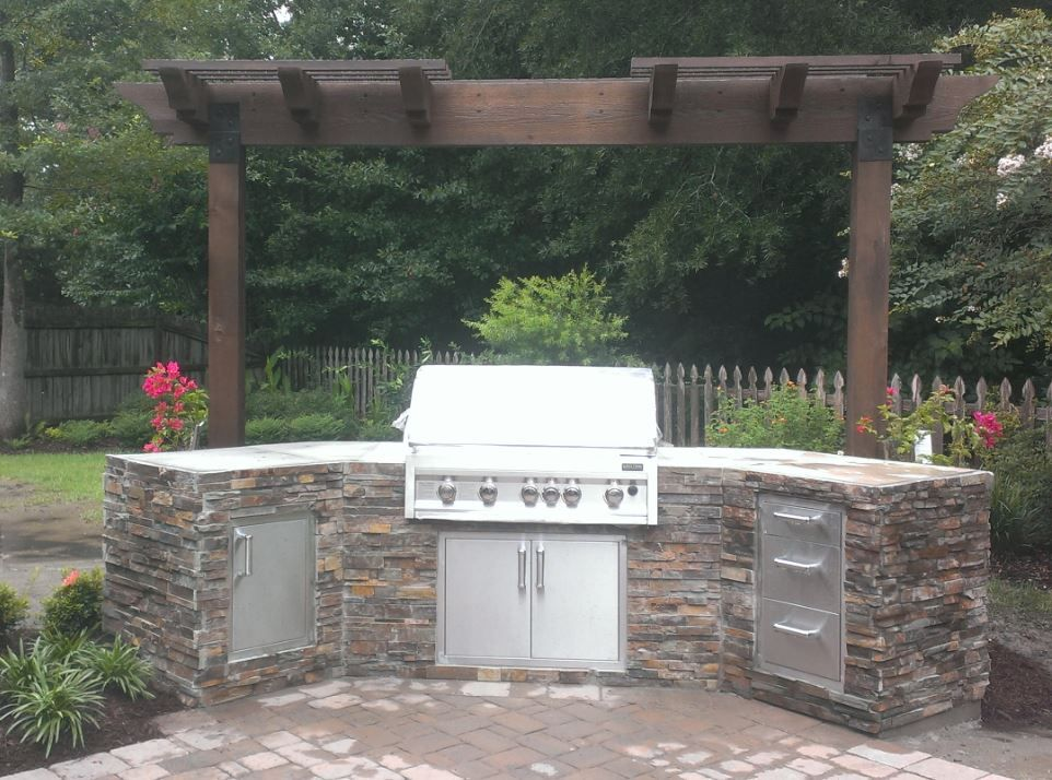 Finished Outdoor Kitchen Using 45 Degree Corner Ready To