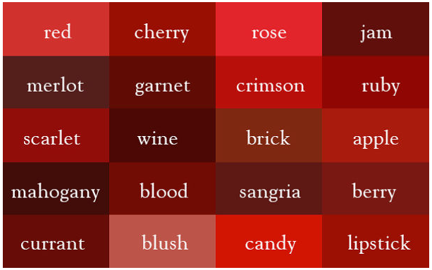 Screen Capture 3407 Colors Of Red Color Names Shades