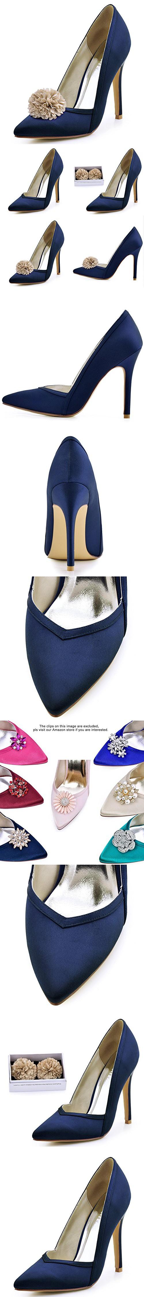 Elegantpark hc womenus pointed toe high heel v cut slip on satin