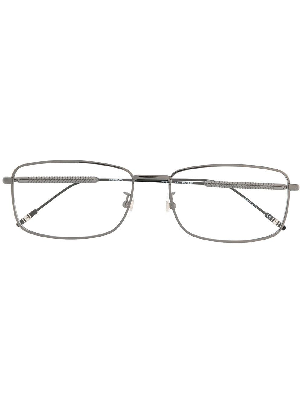 Black metal rectangular frame glasses from Montblanc featuring a textured design at the arms. This item is unisex.