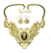 Vintage Filigree Cameo Fashion Necklace Set Matte Gold Plated Steampunk Wedding