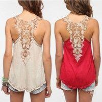 Wish | Summer Fashion Lace Off Shoulder Sleeveless Cotton Plus Size Vest T-shirt