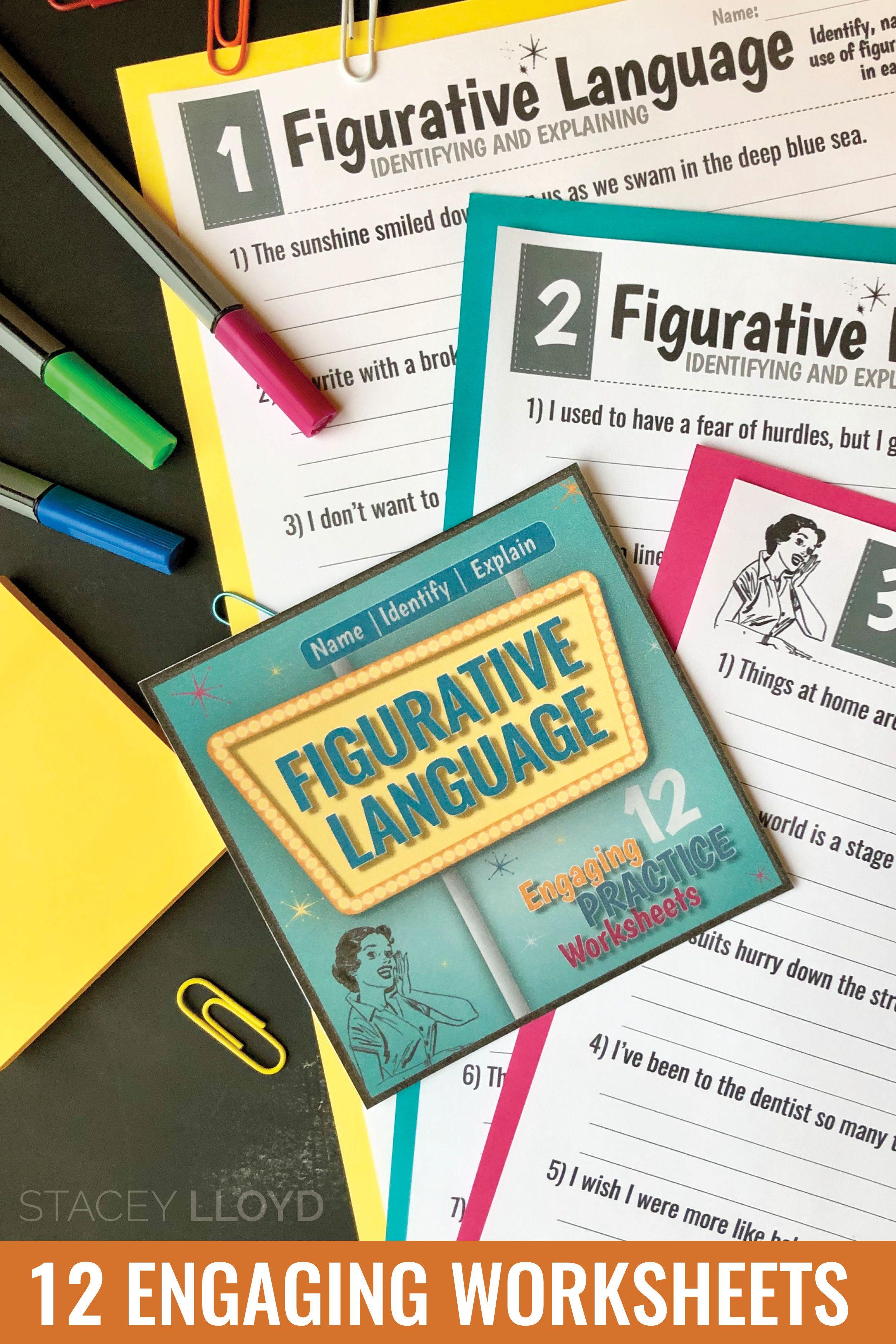 Figurative Language Worksheets Name Identify And Explain
