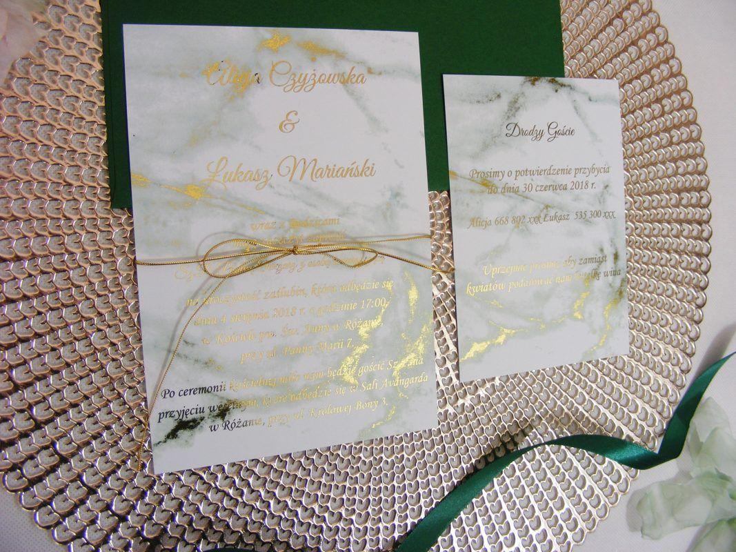 Zaproszenia ślubne Szmaragdowa Zieleń Marmur I Złocenia Our
