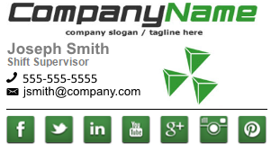 This sigbop email signature includes a Company Name, Company Logo, Name and Contact information, and Social Media Icons