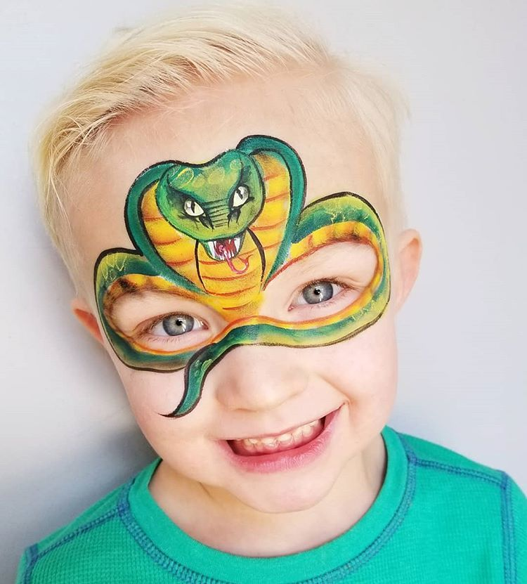 I Did This Cobra Mask On My Son For Silly Farm They Loved It And Used It On Their Newsletter The Face Painting Designs Snake Face Paint Animal Face Paintings