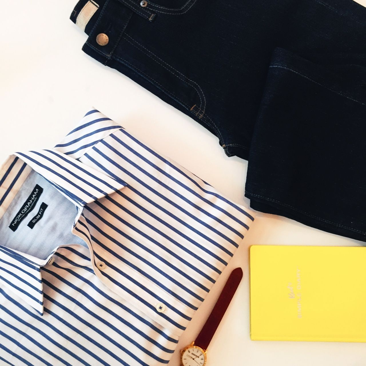Blue stripes. -