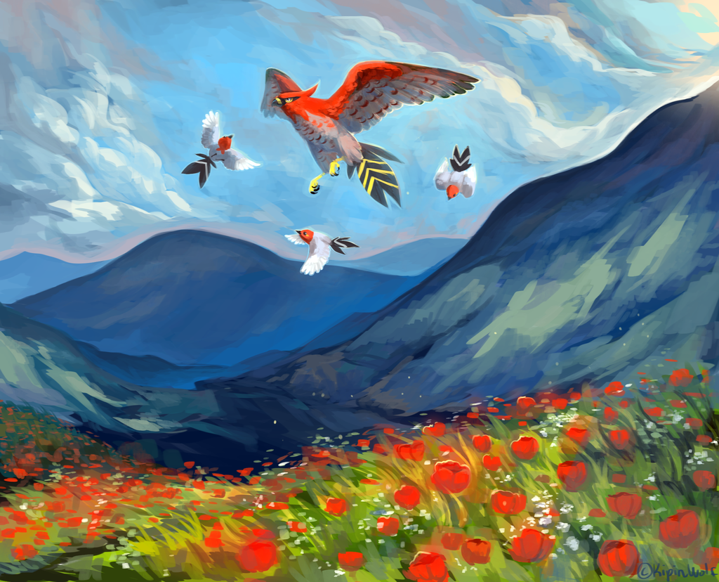 Red flowers by KipinWolf.deviantart.com on @deviantART (Talonflame and Fletchling)
