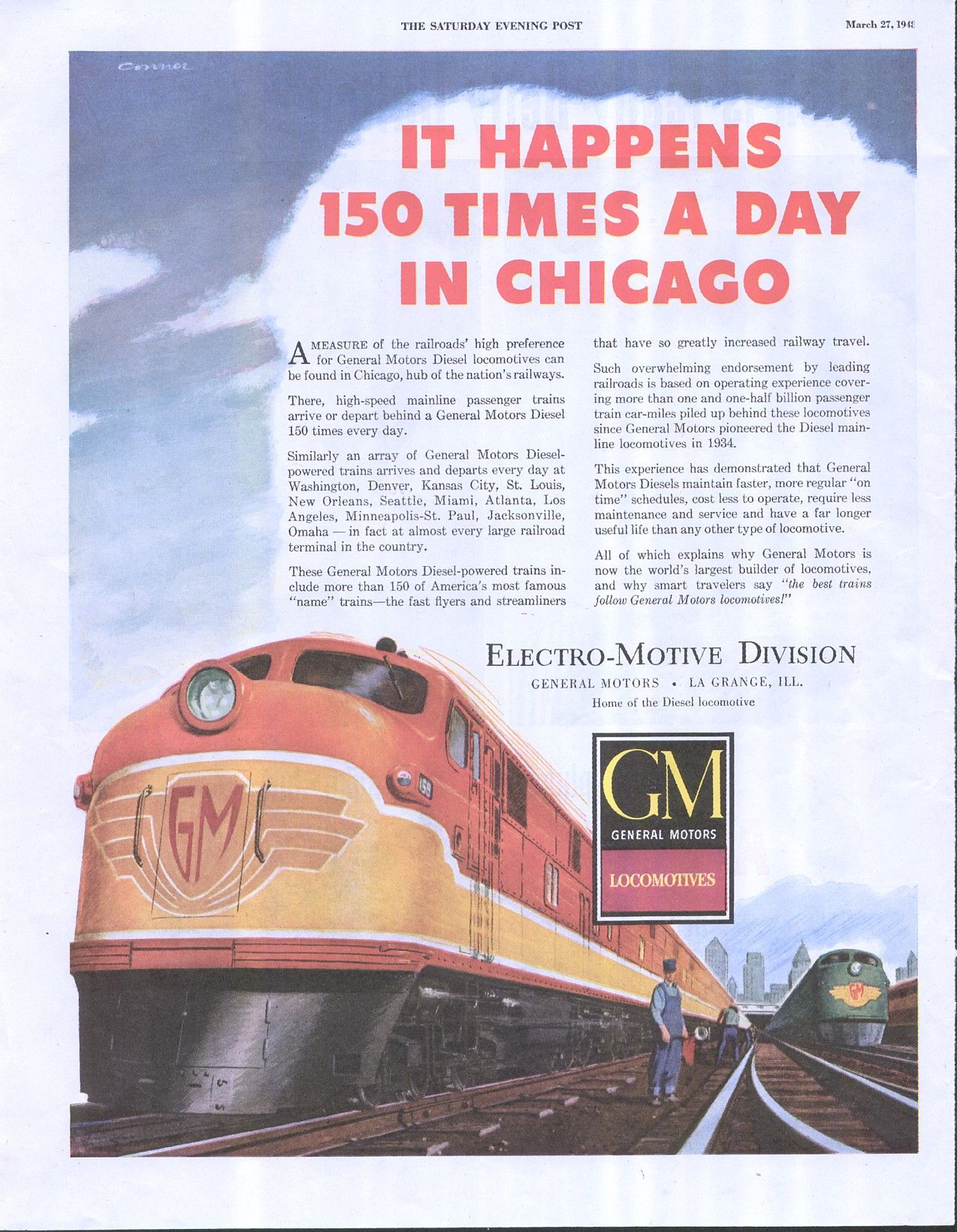 Vintage mid century train ad electro motive division gm for Electro motive division of general motors