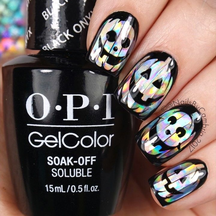 Holographic Halloween Jack o Lantern Nails | Halloween Recipes and ...