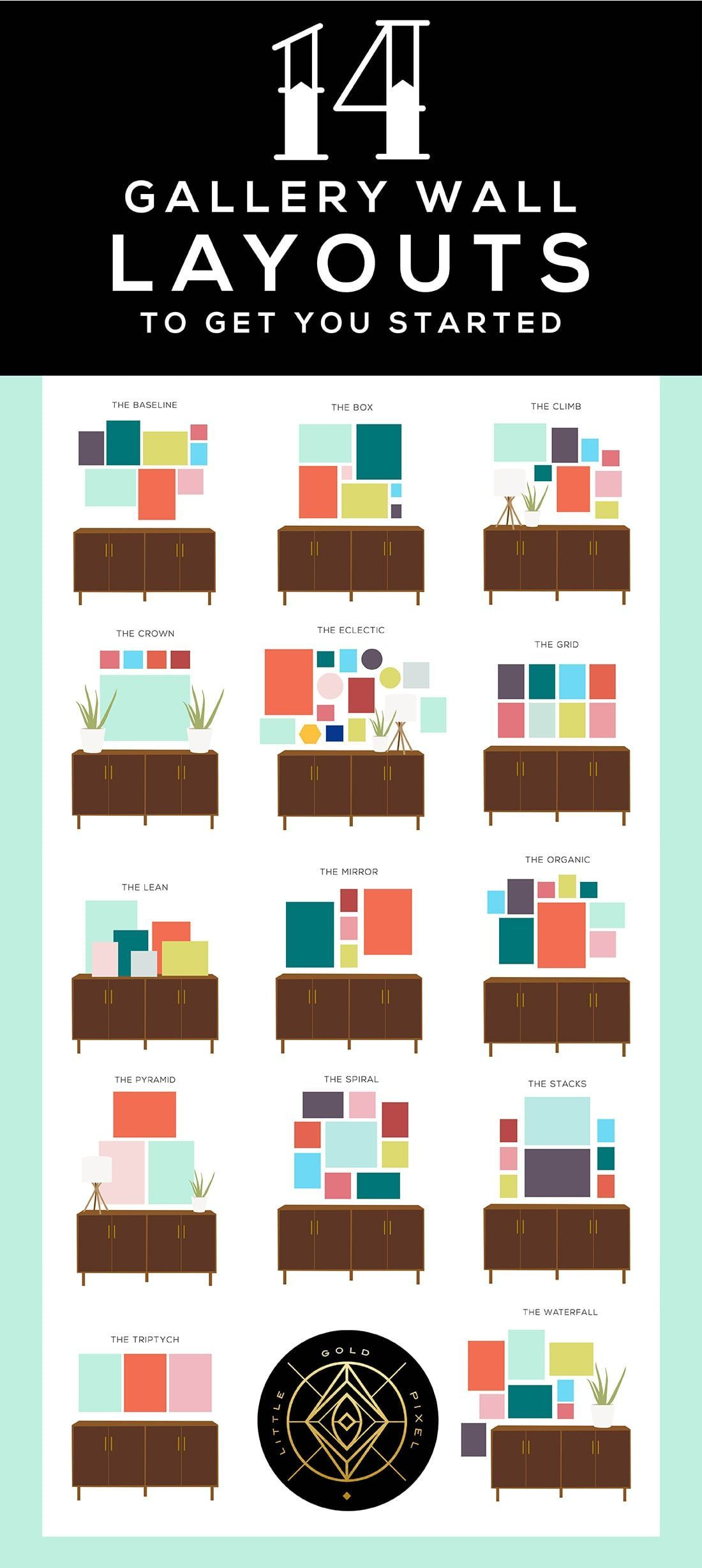 Photo of 14 Gallery Wall Layouts to Get You Started • Little Gold Pixel