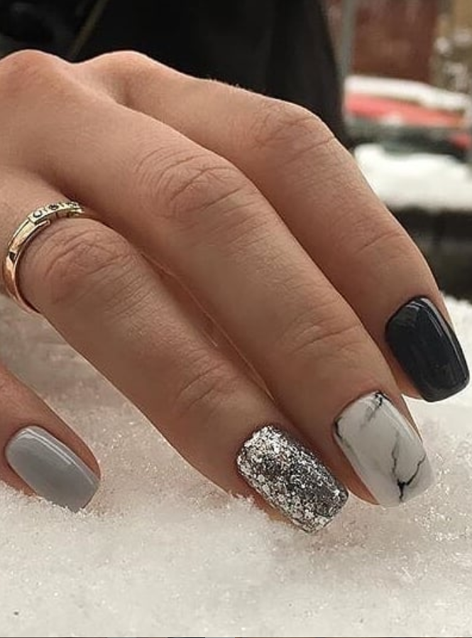 24 Elegant Acrylic White Nail Design For Short Square Nails In Summer Page 16 Of 24 Latest Fashion Trends For Woman In 2020 Square Nails Short Square Nails Silver Nails